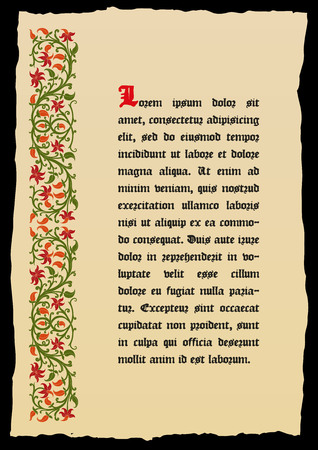 Template book page in a medieval style. Place for text. Floral frame of interwoven stems, foliage and flowers. Vector edging, design element and page decoration. Vector retro background Фото со стока - 52703681