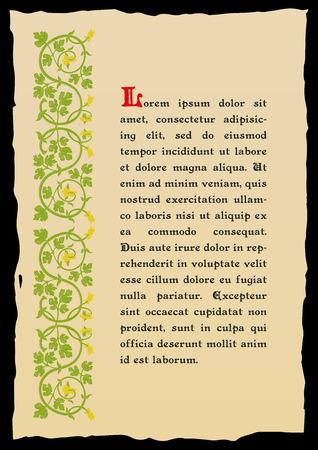 Vorlage Buchseite in einem mittelalterlichen Stil. Platz für Text. Floral Rahmen der verwobenen Stengeln, Blätter und Blüten. Vector Kanten, Design-Element und Dekoration Seite. Vektor-Retro-Hintergrund Standard-Bild - 52703682