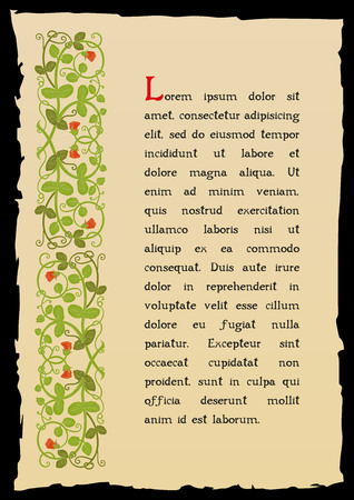 page de livre modèle dans un style médiéval. Placez pour le texte. Floral frame de entrelacées tiges, feuillage et de fleurs. Vector bordure, élément de design et de décoration de page. Vector retro fond Vecteurs