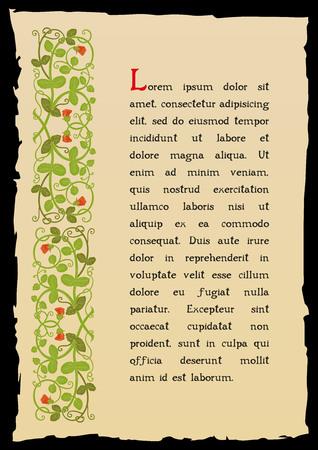 Vorlage Buchseite in einem mittelalterlichen Stil. Platz für Text. Floral Rahmen der verwobenen Stengeln, Blätter und Blüten. Vector Kanten, Design-Element und Dekoration Seite. Vektor-Retro-Hintergrund Vektorgrafik