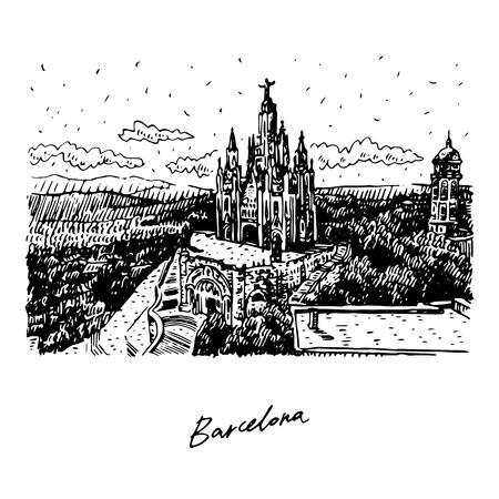 The Temple at Tibidabo in Barcelona, ??Catalonia, Spain. Drawn pencil sketch. Vector file