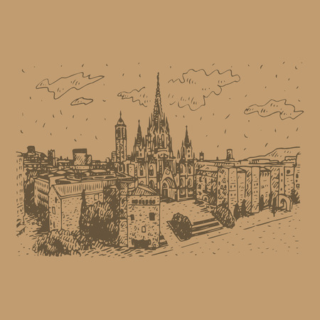barcelona  spain: The Cathedral of the Holy Cross and Saint Eulalia in Barcelona, ??Spain. Drawn pencil sketch. Vector file Illustration