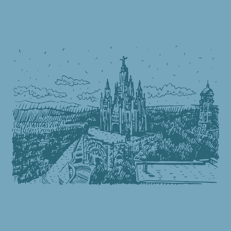 The Expiatory Church of the Sacred Heart of Jesus on the summit of Mount Tibidabo in Barcelona, ??Catalonia, Spain. Vector freehand pencil sketch.