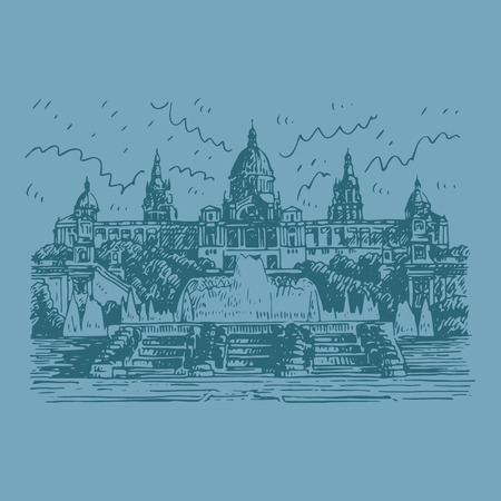 barcelona  spain: National Art Museum of Catalonia in Barcelona, ??Spain. Drawn pencil sketch. Vector file Illustration