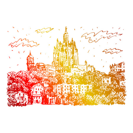 sacred heart: The Expiatory Church of the Sacred Heart of Jesus on the summit of Mount Tibidabo in Barcelona, ??Catalonia, Spain. Vector freehand pencil sketch.