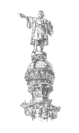 Christopher Columbus monument on the central promenade of Barcelona, ??Catalonia, Spain. Drawn pencil sketch. Vector file Illustration