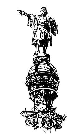 christopher: Christopher Columbus monument on the central promenade of Barcelona, ??Catalonia, Spain. Drawn pencil sketch. Vector file Illustration