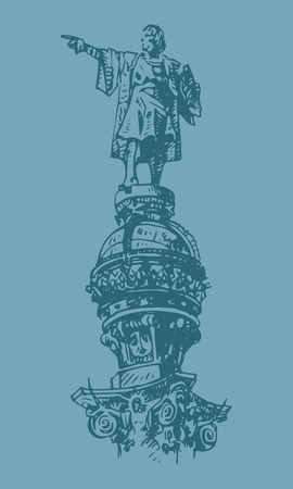 Statue of Christopher Columbus in Barcelona, ??Catalonia, Spain. Vector freehand pencil sketch.