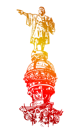 barcelona: Statue of Christopher Columbus in Barcelona, ??Catalonia, Spain. Vector freehand pencil sketch.