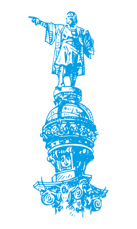 christopher: Statue of Christopher Columbus in Barcelona, ??Catalonia, Spain. Vector freehand pencil sketch.