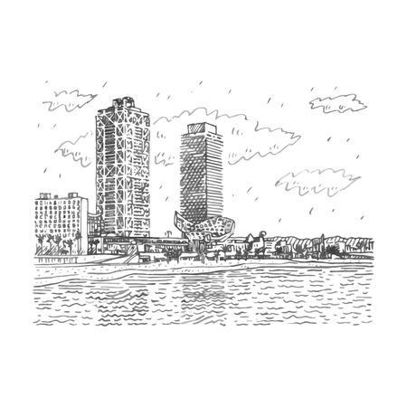 Barceloneta Beach in Barcelona, ??Catalonia, Spain. Vector freehand pencil sketch.