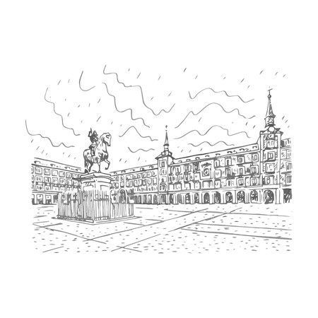 plaza: Statue of Philip III on Mayor plaza in the center of Madrid, Spain. Drawn pencil sketch. Vector file