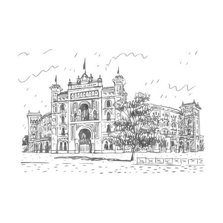 toros: Plaza de Toros de Las Ventas, Madrid, Spain. Drawn pencil sketch. Vector file
