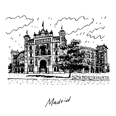 plaza: Plaza de Toros de Las Ventas, Madrid, Spain. Drawn pencil sketch. Vector file