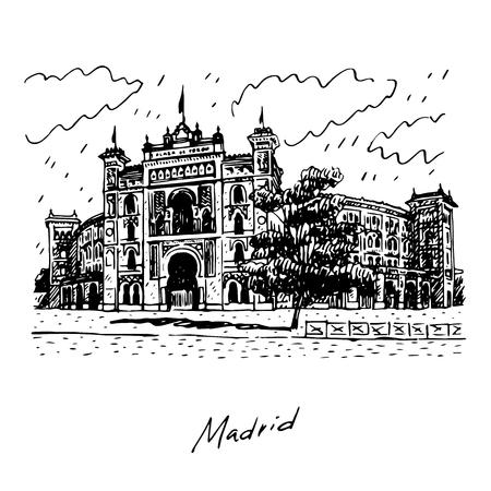 Plaza de Toros de Las Ventas, Madrid, Spain. Drawn pencil sketch. Vector file