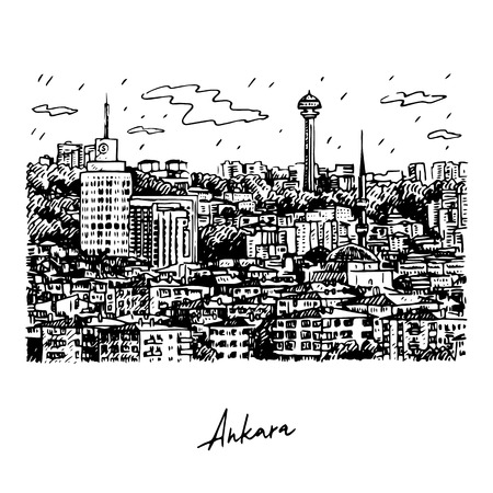 View of Ankara, capital city of Turkey. Vector freehand pencil sketch.