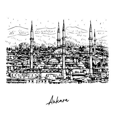 The Kocatepe Mosque, Ankara, Turkey. Vector freehand pencil sketch.