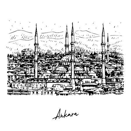 The Kocatepe Mosque, Ankara, Turkey. Vector freehand pencil sketch.