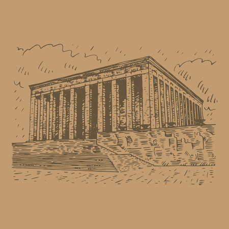 Mausoleum of Ataturk. Ankara, Turkey. Vector freehand pencil sketch.