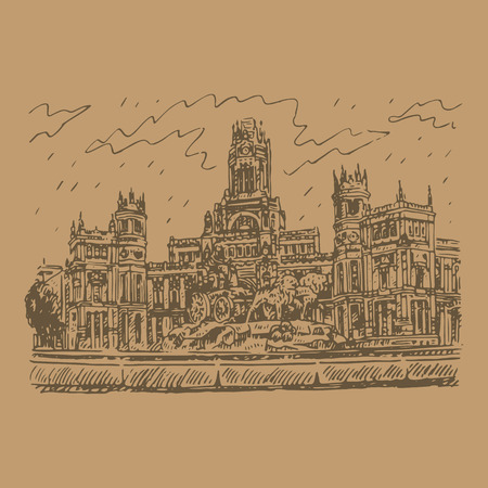 plaza: Cybele Palace and fountain at the Plaza Cibeles in Madrid, Spain. Drawn pencil sketch. Vector file Illustration