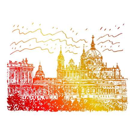 maria: Santa Maria la Real de La Almudena Cathedral and the Royal Palace. Madrid, Spain. Drawn pencil sketch. Vector file Illustration