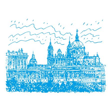 Santa Maria la Real de La Almudena Cathedral and the Royal Palace. Madrid, Spain. Drawn pencil sketch. Vector file Illustration
