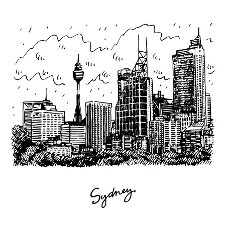 sydney: Sydney Tower and skyscrapers view of Sydney, Australia. Vector freehand pencil sketch.