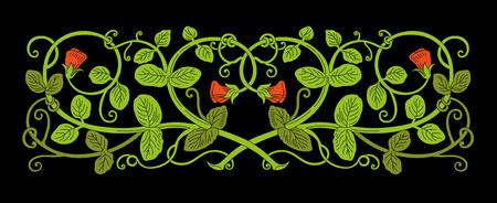 Floral ornament in medieval style. Color pattern of interwoven stems, foliage and flowers. Vector frame, elegant vignette, design element and page decoration