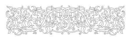 folio: Floral ornament in medieval style. Pattern of interwoven stems, foliage and flowers. Vector frame, elegant vignette, design element and page decoration