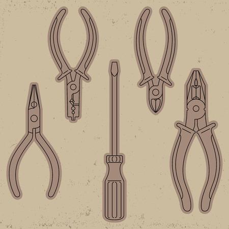 pliers: Vector tools: screwdriver, pliers, split ring pliers, diagonal cutting pliers Illustration