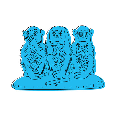Three wise monkeys. Proverbial principle to «see no evil, hear no evil, speak no evil». Blue figures on a white background. Vector illustration