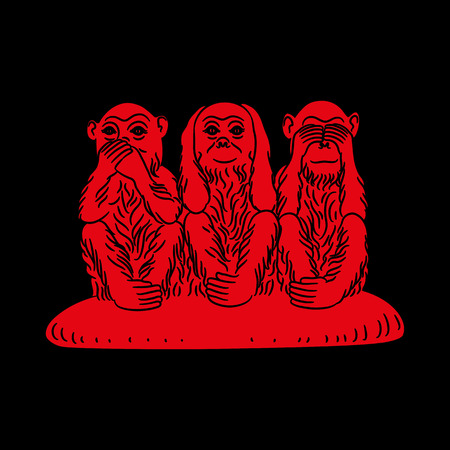 Three wise monkeys. Proverbial principle to «see no evil, hear no evil, speak no evil». Red figures on a black background. Vector illustration Illustration