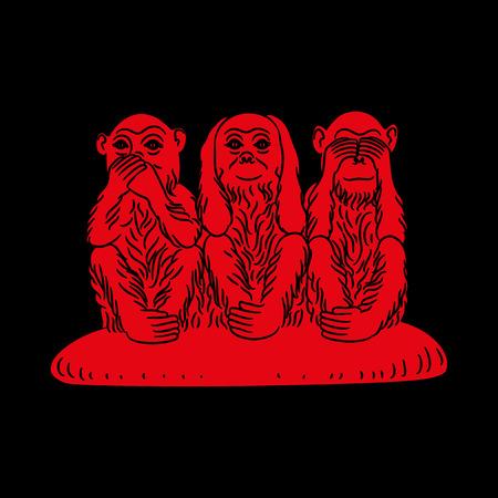 critique: Three wise monkeys. Proverbial principle to «see no evil, hear no evil, speak no evil». Red figures on a black background. Vector illustration Illustration