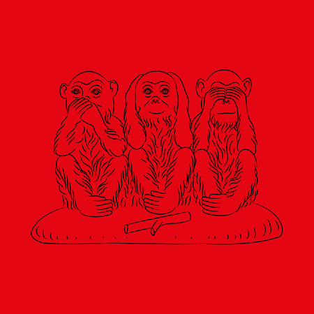 coward: Three wise monkeys. Proverbial principle to see no evil, hear no evil, speak no evil Outline figures. Vector illustration Illustration