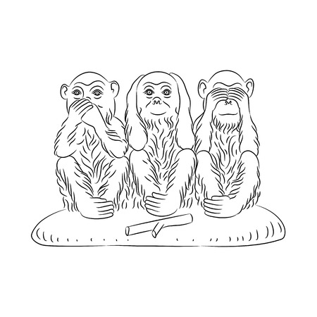 critique: Three wise monkeys. Proverbial principle to «see no evil, hear no evil, speak no evil». Outline silhouettes. Vector illustration