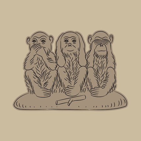 critique: Three wise monkeys. Proverbial principle to see no evil, hear no evil, speak no evil. Vector illustration Illustration