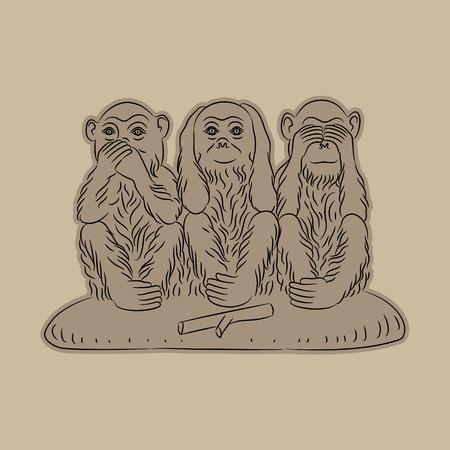 see no evil: Three wise monkeys. Proverbial principle to see no evil, hear no evil, speak no evil. Vector illustration Illustration