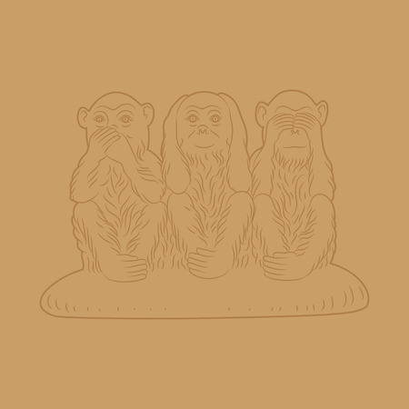 critique: Three wise monkeys. Proverbial principle to ? ?see no evil, hear no evil, speak no evil». Vector illustration Illustration