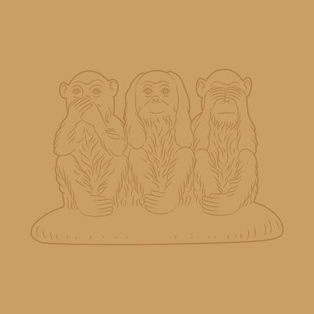Three wise monkeys. Proverbial principle to ? ?see no evil, hear no evil, speak no evil». Vector illustration Illustration