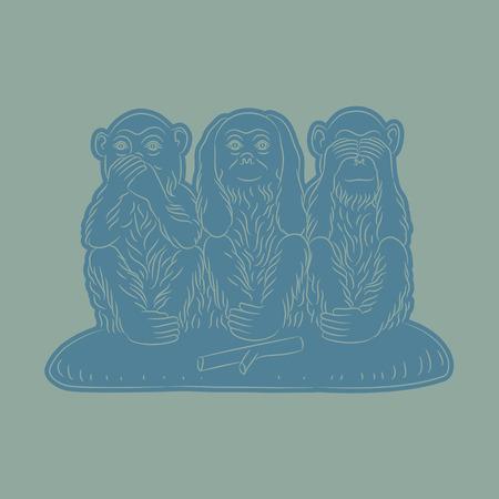 Three wise monkeys. Proverbial principle to see no evil, hear no evil, speak no evil. Vector illustration Illustration