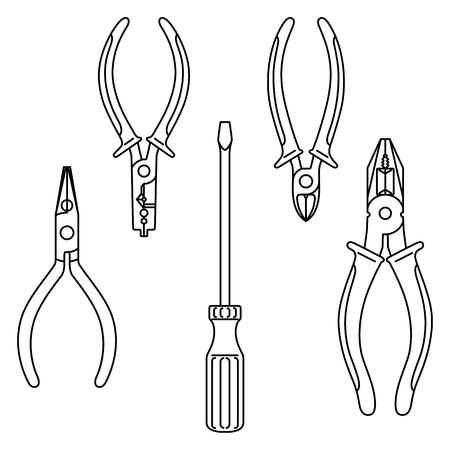 Contour vector tools: screwdriver, pliers, split ring pliers, diagonal cutting pliers