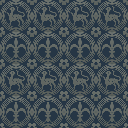 argent: Silver seamless pattern on a dark blue background. Royal elements in a gothic style. Decoration for wallpaper, fabrics, tiles and mosaics. Vector illustration