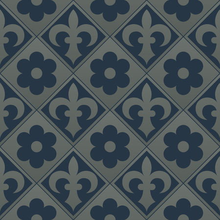 flower age: Silver seamless pattern on a dark blue background. Royal elements in a gothic style. Decoration for wallpaper, fabrics, tiles and mosaics. Vector illustration