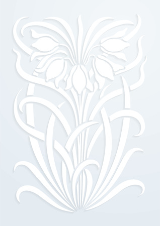 White paper floral ornament. Silhouette of flowers. Figure bouquet in the form of a stencil or cutout. Vector background Vectores