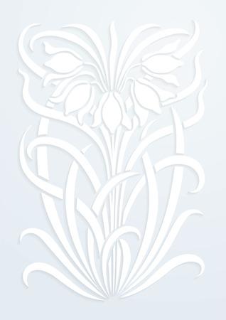 papel blanco adornos florales. Silueta de flores. Figura ramo en forma de una plantilla o de recorte. fondo del vector