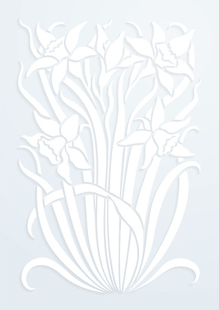 White paper floral ornament. Silhouette of flowers. Figure bouquet in the form of a stencil or applique. Vector background