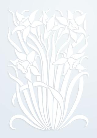 papel blanco adornos florales. Silueta de flores. Figura ramo en forma de una plantilla o apliques. fondo del vector