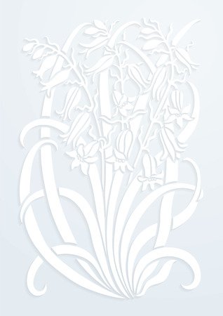 Floral ornament. Silhouette of Bellflower. Figure bouquet in the form of a stencil or applique with white paper. Vector background Vectores