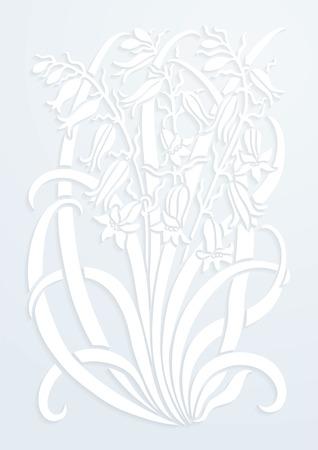 adornos florales. Silueta de Bellflower. Figura ramo en forma de una plantilla o apliques con papel blanco. fondo del vector
