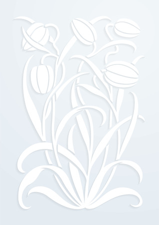 Paper floral ornament. Silhouette of Tulips. Figure bouquet in the form of a stencil or cutout. Vector background